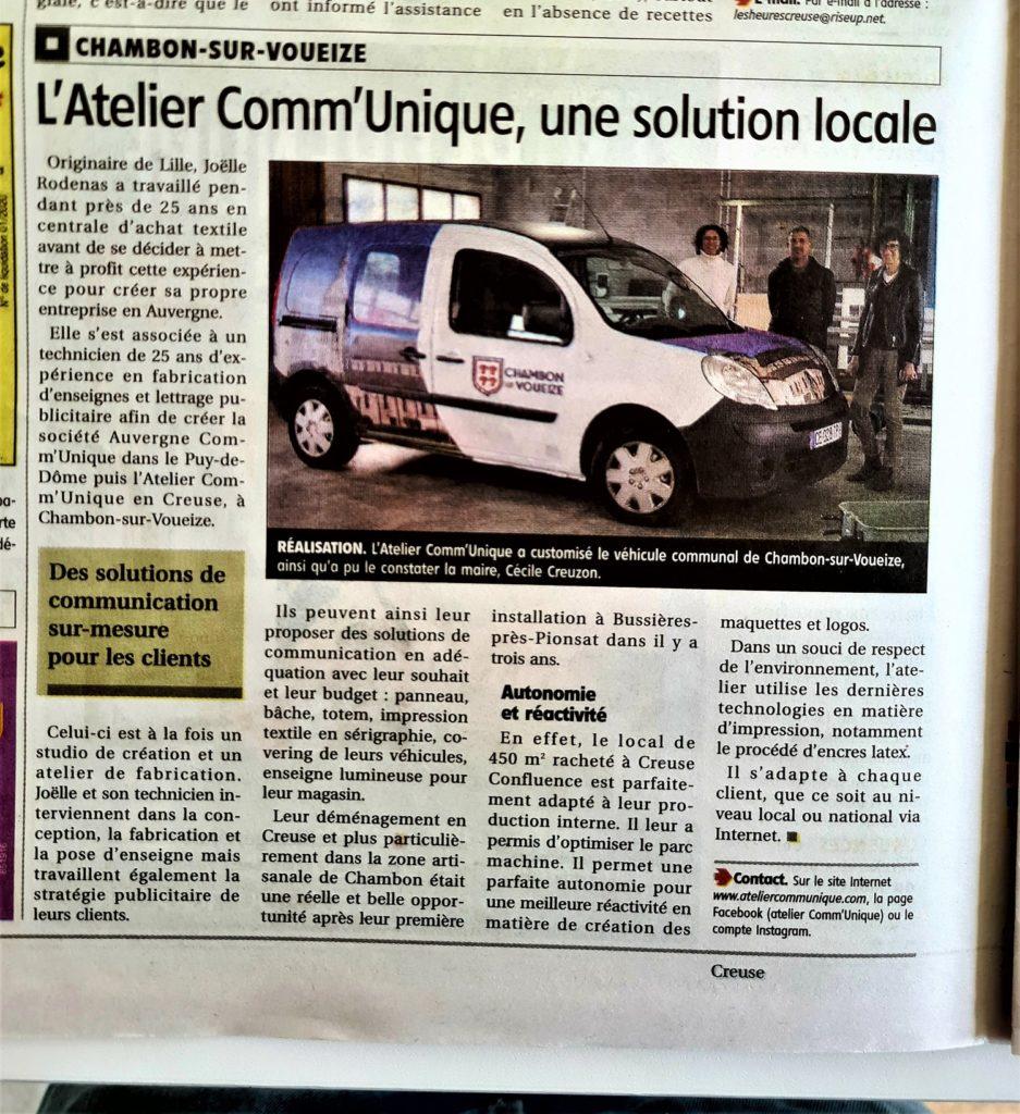 article presse La Montagne l'Atelier Comm'Unique une solution locale installation Chambon sur Voueize Atelier Comm'unique 23 histoire Auvergne Rodenas Joëlle