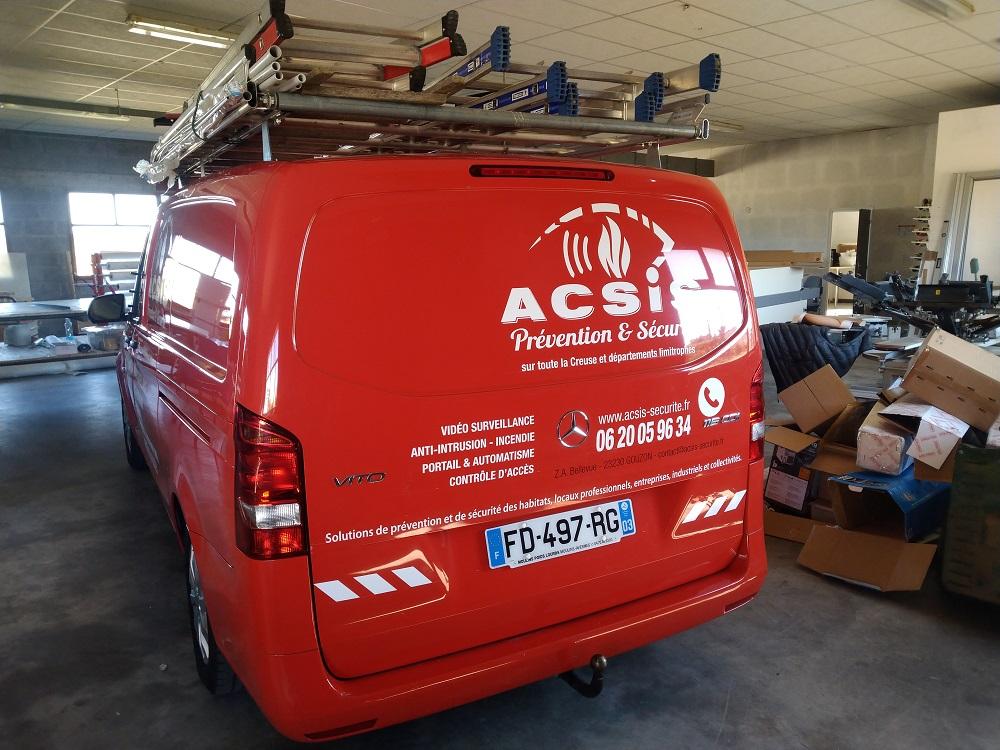 véhicule marquage lettrage Acsis Gouzon publicité communication Auvergne