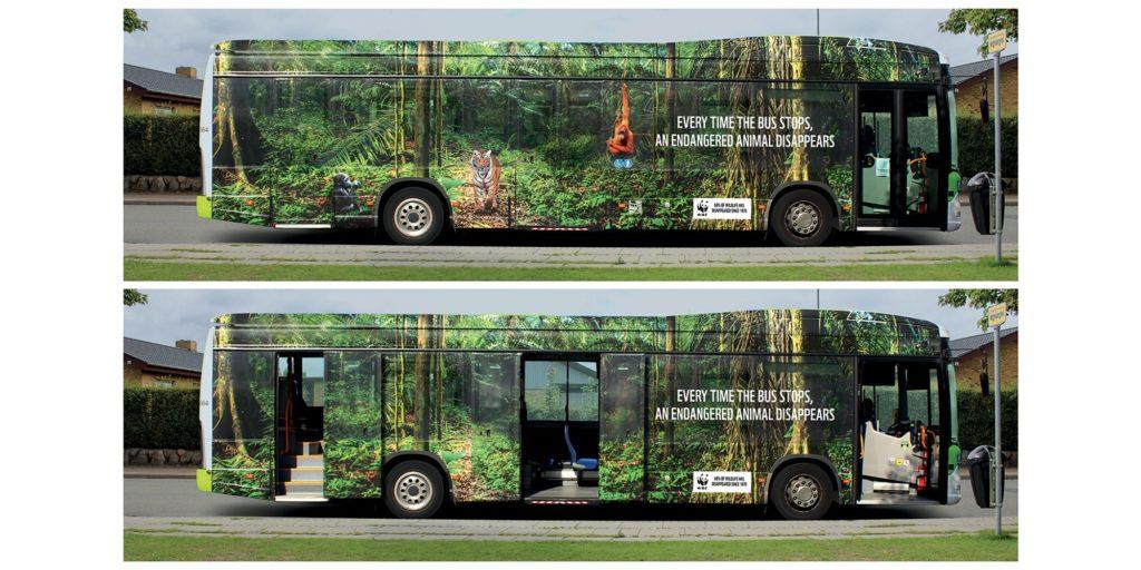 wwf total covering bus IC le Mag Industries Creative impression numérique adhésif véhicule